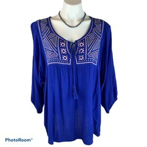 Flying Tomato Boho Blue Peasant Top Blouse 1X 1XL